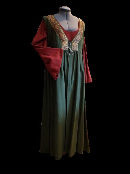 Leinenkleid grün-rotbraun, zweiteilig, 48-52
