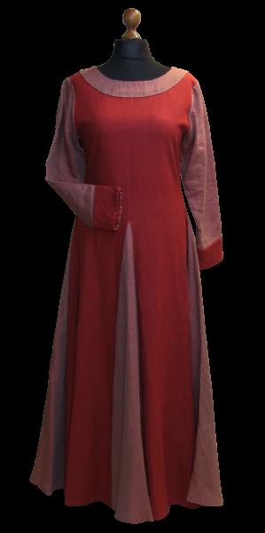 Wikinger Leinenkleid rot-grau